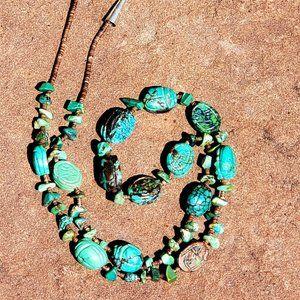 Vintage Navajo Story Scarab Bead Necklace